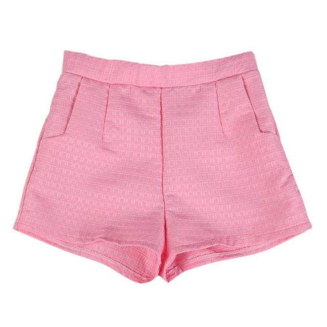 Plus Size Cotton Women Summer Shorts Sweet Style High Waist Casual Elegant Women Jeans Plaid Short