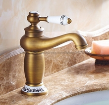 Retro Style Antique Brass Bathroom Sink Basin Faucet Single Ceramic Handle Hole Deck Mounted basin tap Nnf503