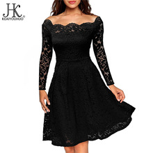 KEAIYOUHUO 2017 Women Clothes High Quality Office Summer Dress Sexy Lace Long Sleeve Dresses For Women Ladies Clothing Vestidos