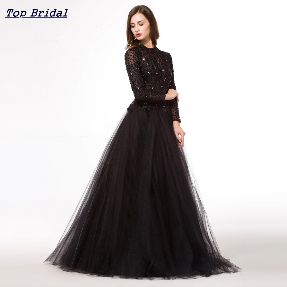 Black Long Sleeve Ball Gown Prom Dresses
