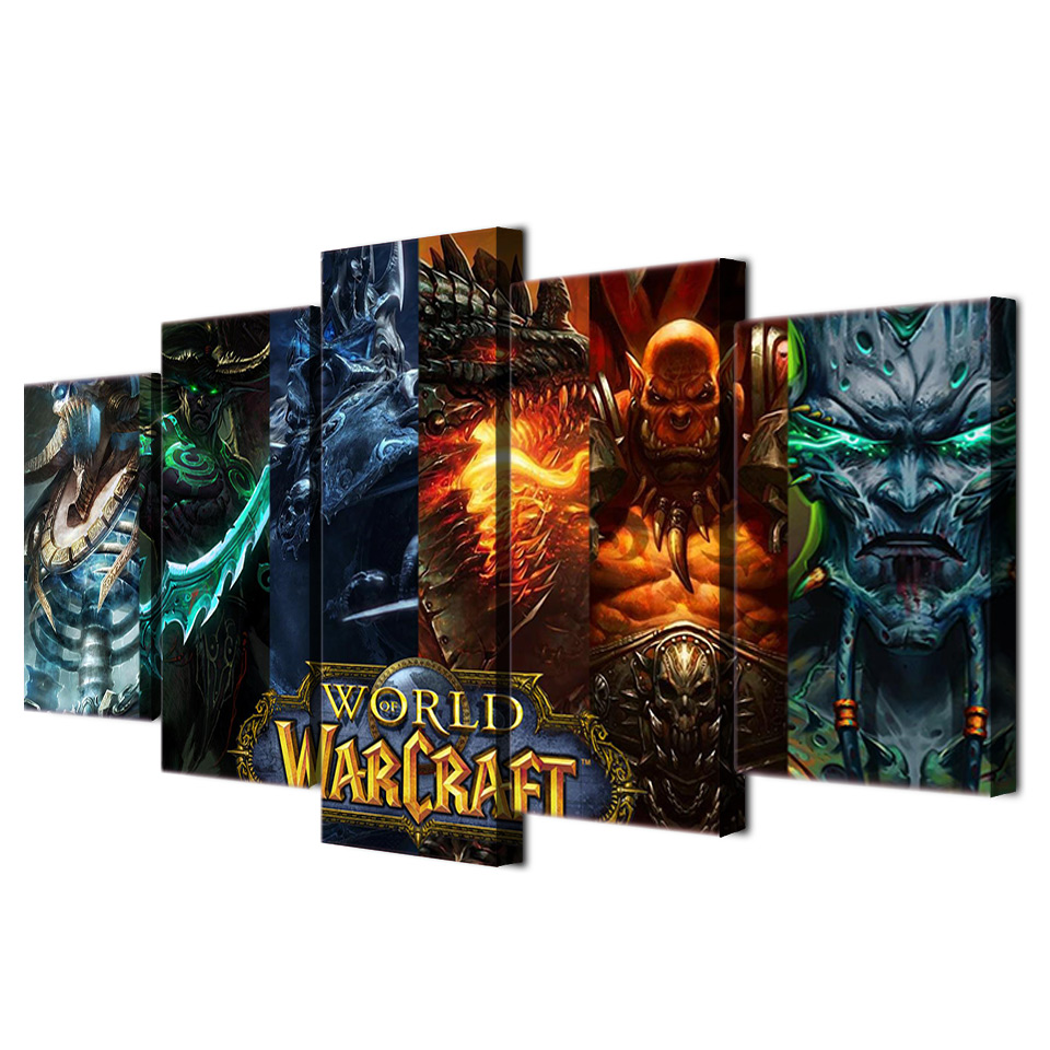 5 Panels Hd Print Painting Frame Canvas World Of Warcraft Game Wall Art Modern Home Decor Picture For Living Room