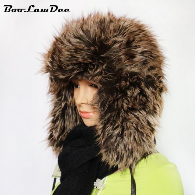 Boolawdee homens mulheres chapéu bombardeiro inverno quente e confortável com flap ear hat trapper russo estilo cap bomber chapéus 4a426