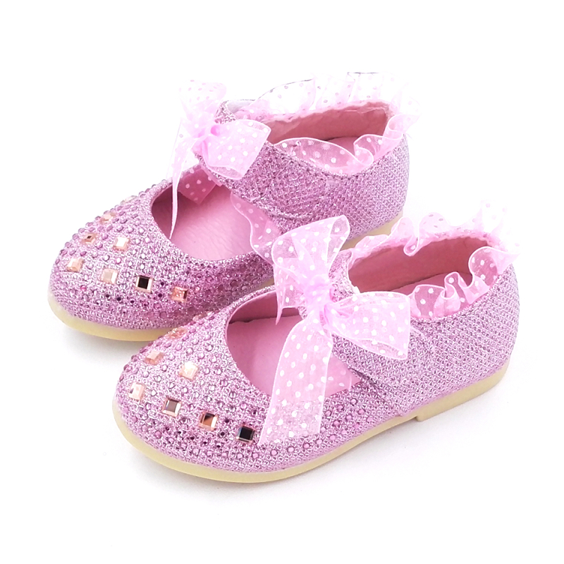 2017 Hot Lace Girls Leather Shoes Spring Autum Child Girls Princess Shoes Fashion Diamond Girls Baby Flat Shoes  Inside 13-15 Cm
