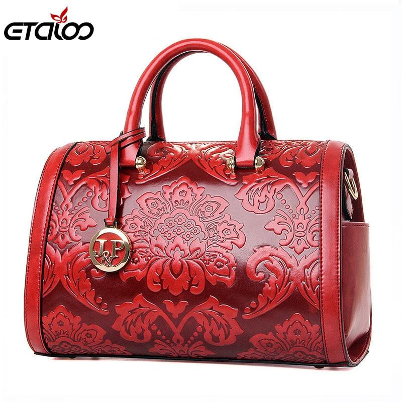 2017 Frauen Tasche Mode Vintage Floral Geprägte Handtaschen Berühmte Designers Marke Umhängetaschen