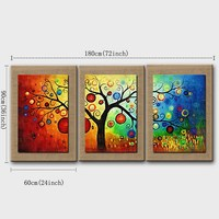 Plant Hand Painted On Nature Linen 3 pcs/set With Frame decor Abstract lucky Tree Oil Painting Wall Art Picture Home Decoration