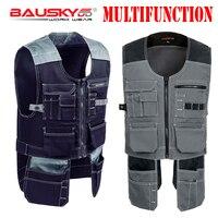 Bauskydd سترات صدرية سترات قمم multifunction متعدد جيوب المصور نجار ميكانيكي العمل