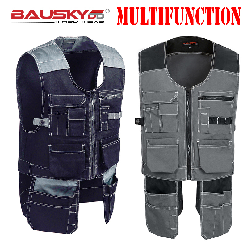Bauskydd Workwear Waistcoat Work Vests Photographer Carpenter Mechanic Tops Multifunction Multi Pockets