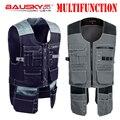 Bauskydd Workwear chaleco chalecos de trabajo fotógrafo carpintero mecánico Tops multifunción Multi bolsillos
