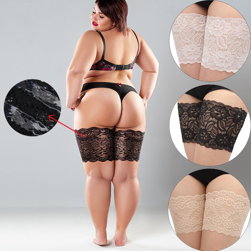 1Pair Ladies Sexy Lace Anti-Friction Non-Slip Harness Thigh Socks For Women Black Flesh Lace Plus Size Leg Warmers Care Garters