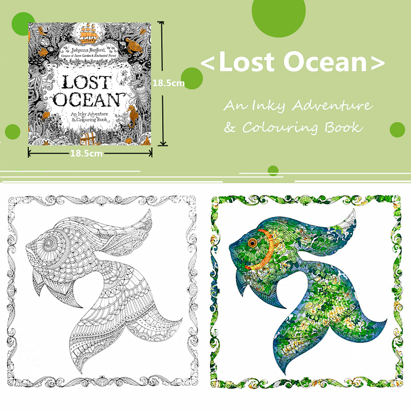 US $4.0 |Lost Ocean Colouring Book Childhood Dream Painting Drawing  coloring Books Painting Colors Johanna Basford Release Pressure-in Books  from ...
