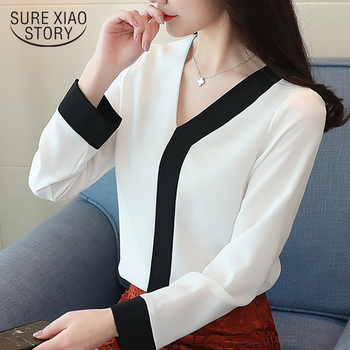 11e762ea22 2018 de moda de gasa camisa elegante blusa de las mujeres de manga larga  blanco mujeres Oficina ropa de mujer Camisas blusas D826 30