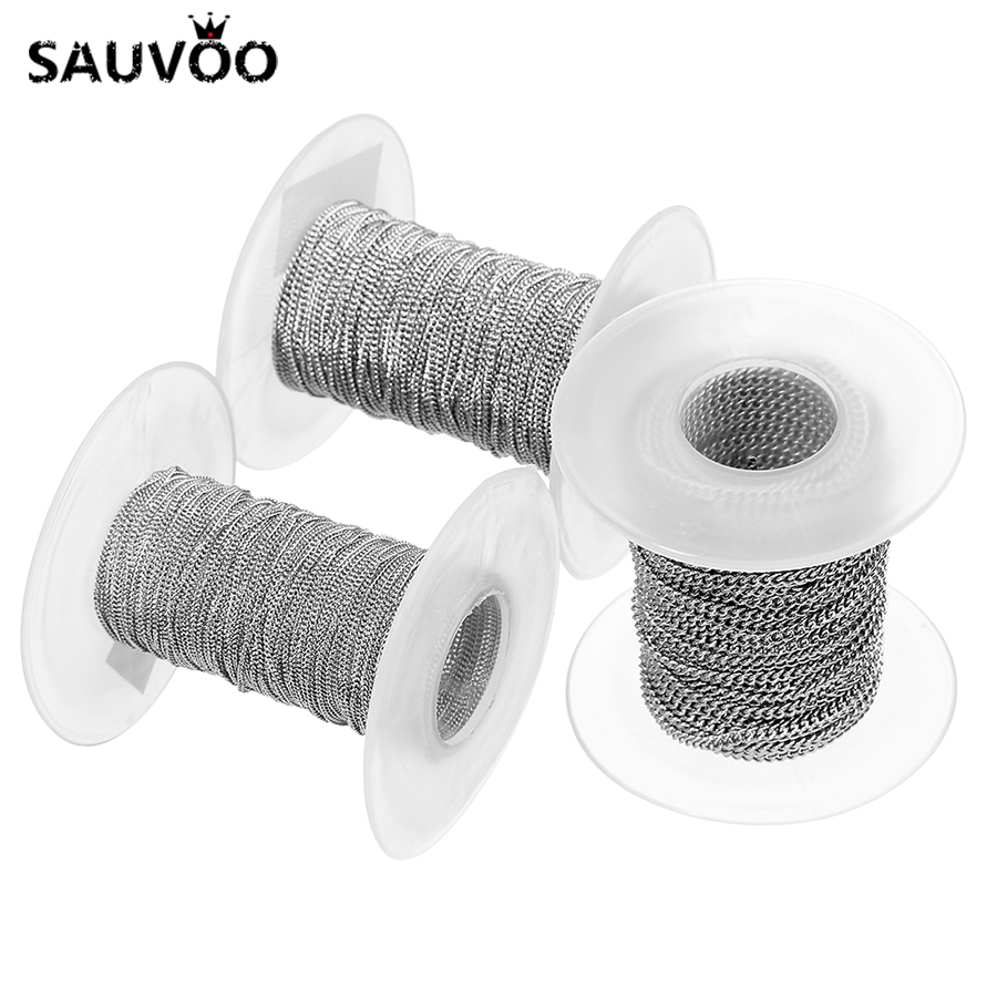 SAUVOO 10 Yard Stainless Steel Bulk Chains Wide 1mm 1.5mm 2.0mm 2.5mm 3mm Cable Rolo Link Cross Chains for DIY Jewelry Findings