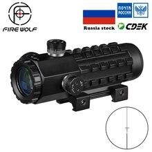 Lobo de fogo 3×28 verde vermelho ponto cruz vista scope óptica tático riflescope caber 11/20mm ajustável trilho rifle escopos para a caça