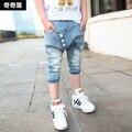 Мальчик надписи лето 3/4 длина брюки мальчики джинсы дети джинсы дети лето брюки