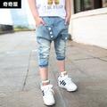 Nuevo 2015 baby boy carta de verano 3/4 pantalones de la longitud chicos vaqueros de los niños kids summer pant