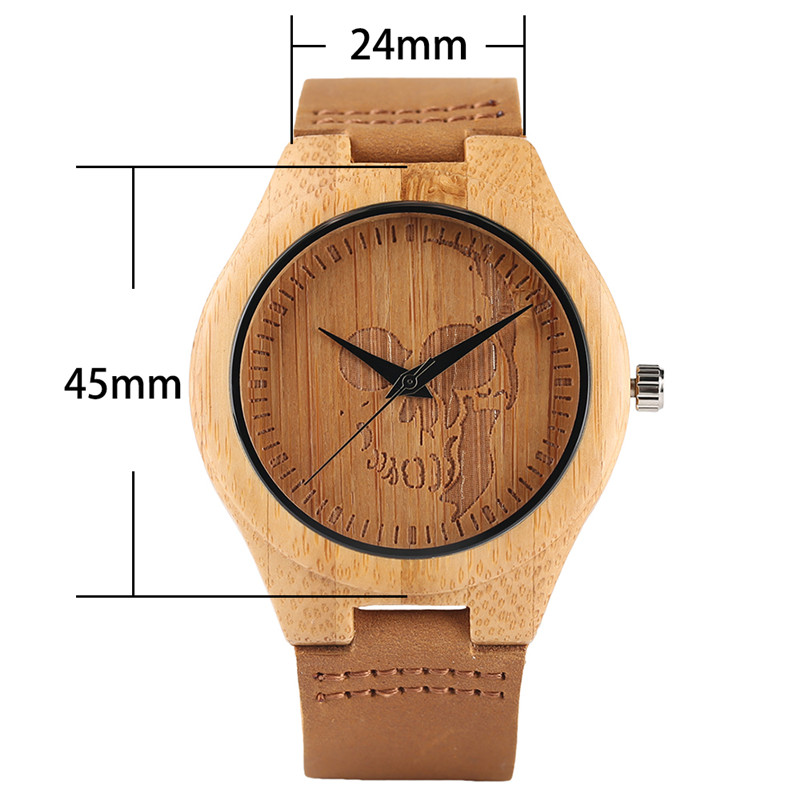 Image 3 - Luxury Wood Watch for Men Women Skull Pattern Creative Nature Wooden Wristwatch Modern Novel Leather Bangle Unisex Bamboo Clockwatch forwatches for menwatch pattern -