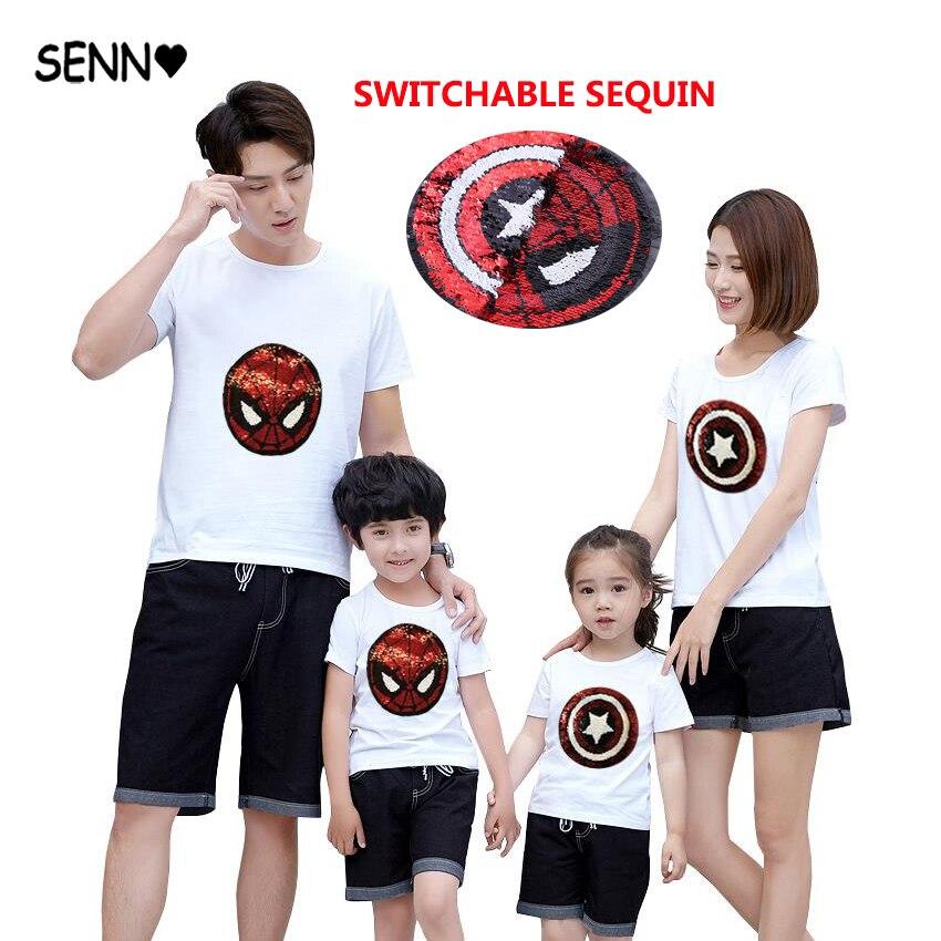 Marvel Super Hero Spiderman Captain Reversible Sequin Kids Boys t shirt Spider Man Cool Tee Top Kids Color Changing Tshirt