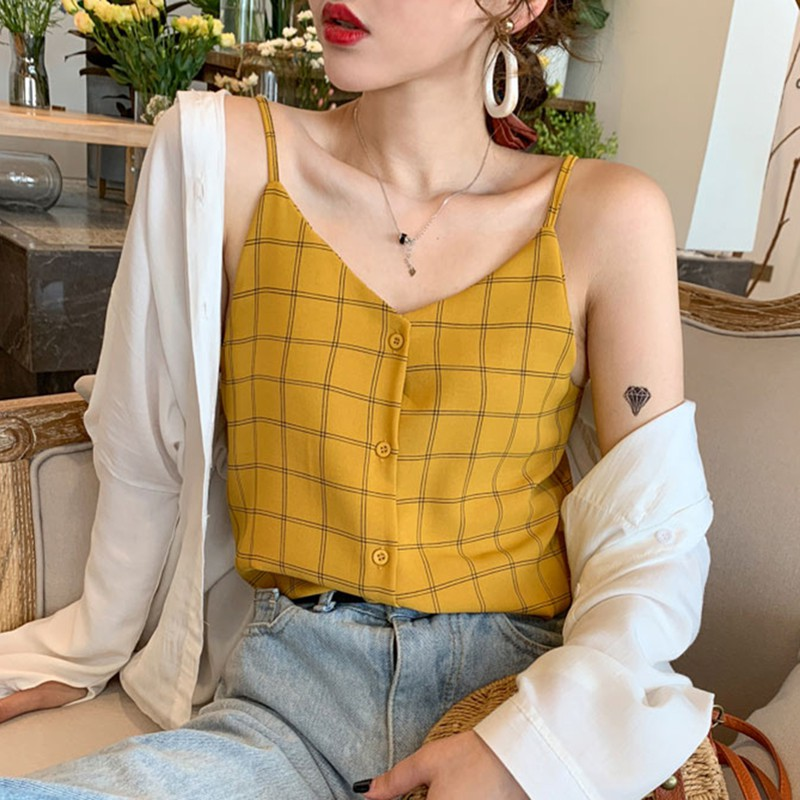 2019 Women Sleeveless Button Beach Casual Tank Tops Vest Female Sexy Strap Chiffon Tops Women Summer V Neck Plaid Tops