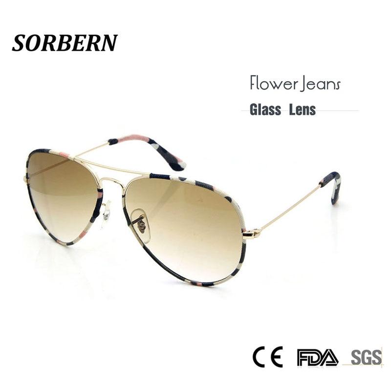 SORBERN Steklena stekla Sončna očala Ženska sončna očala Cvetlični kavbojke Blagovni oblikovalec brez prask Pilot očala Senčila za očala UV400