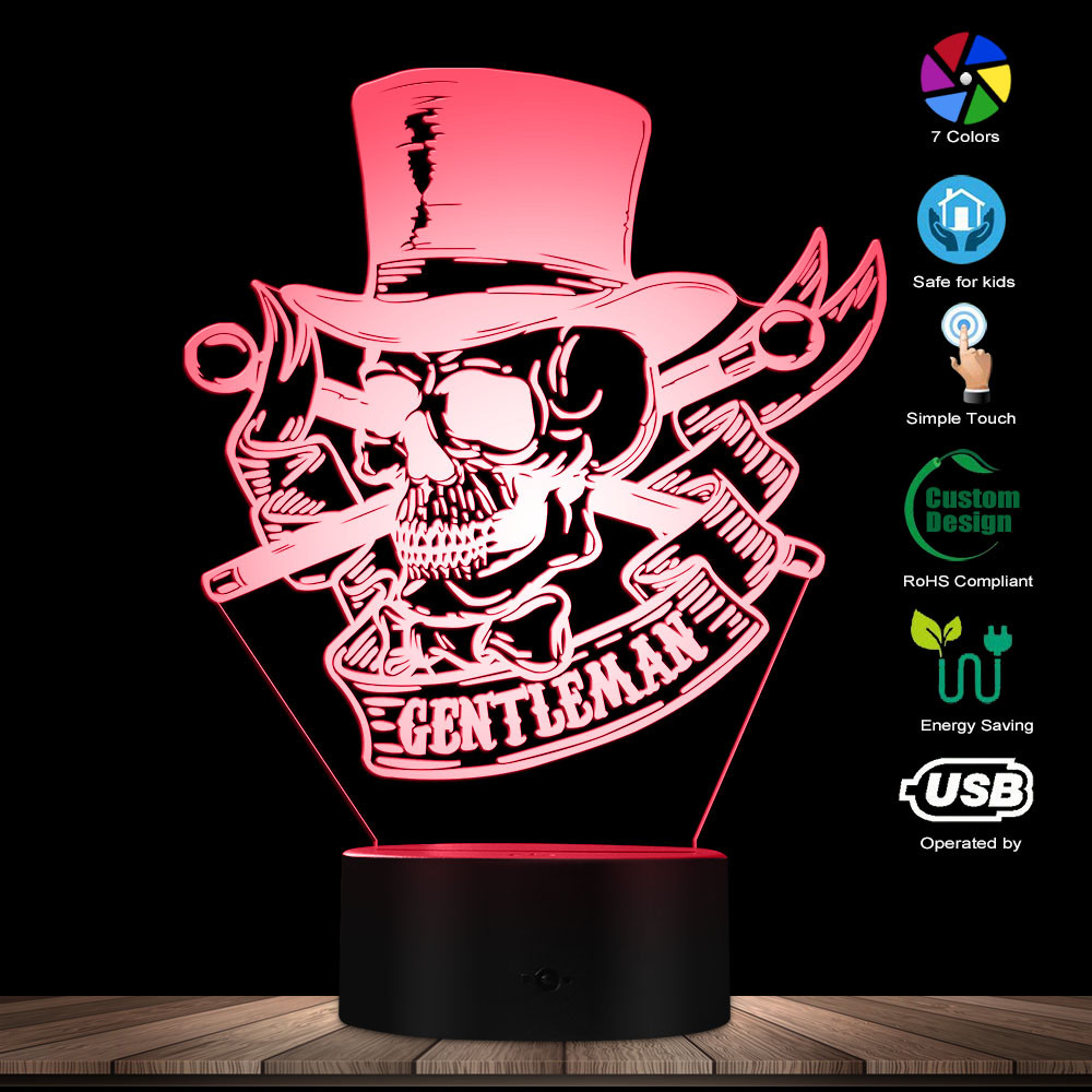 Mr Gentleman Skull With Top Hat 3D Optical Illusion Night Lamp Steampunk Skeleton LED Night Lights Skull Lovers Bedroom Decor