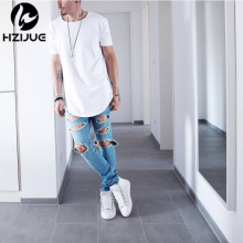 HZIJUE 2017 Curved Hem Hip Hop T-shirt Men Urban Kpop Extended T shirt Plain Longline Mens Tee Male Clothes Justin Bieber Kanye