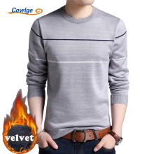 Covrlge Men's Sweater 2017 Winter Warm Fleece Velvet Thick Male Pullover Solid O-neck Knitted Sweaters Brand Clothing MZL024