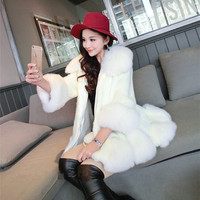 Detachable Collar Faux Fox Fur Coat Fur Spliced Irregular Hem Women's Thick Warm Overcoat 2017 Fashion Casaco de Inverno E100