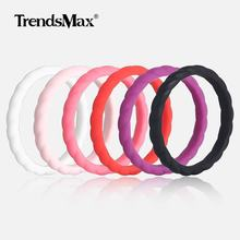 6pcs/lot 3mm Thin Braided Silicone Wedding Rings Hypoallergenic Crossfit Flexible Ring Female Ring for Woman lady Jewelry SRM04(Hong Kong,China)