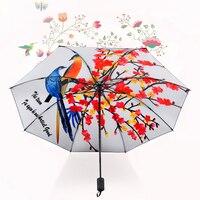 Chiński Magpie Wzór Obraz Olejny Deszczowe Damskie Składany Parasol Słoneczny Parasol Czarna Powłoka Wiatroszczelna Mody Ślubnej Prezent UV