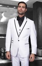 2017 Latest Coat Pant Designs White And Black Formal Wedding Suit For Men Slim Fit Custom Costume Homme Three Pieces Tuxedo