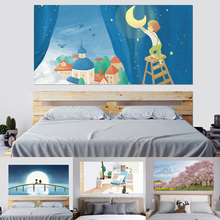 3D Mount Fuji Under Cherry Blossom Forest Children Under the Moon Nordic Style Headboard Sticker Home Decor Mural Paste 90x180cm rowena akinyemi under the moon