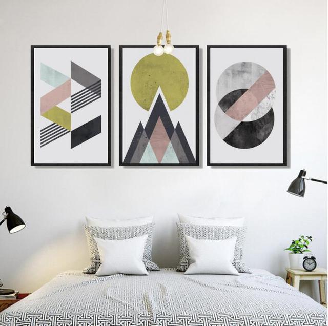 Retro Geometric Kids Room Canvas Paintings Set