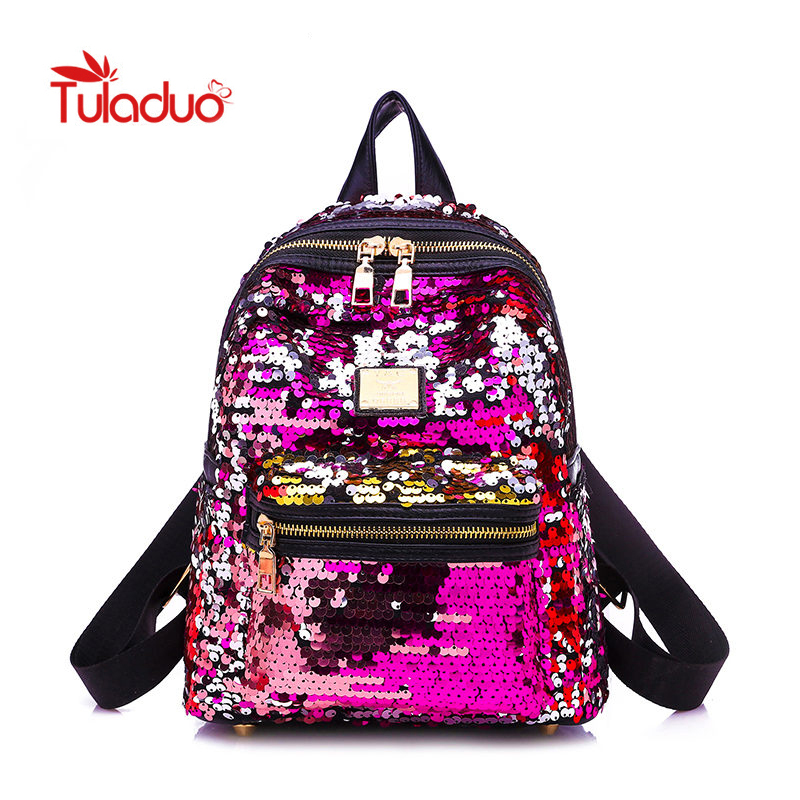 Mini Bling Backpacks Women Sequins School Bags for Teenage Girls Princess Backpack Fashion Travel Shoulder Bags Shiny Mochila hanerou oxford women backpacks for teenage girls mommy travel luggage fashion backpack bag pack mochila escolar gril school bags