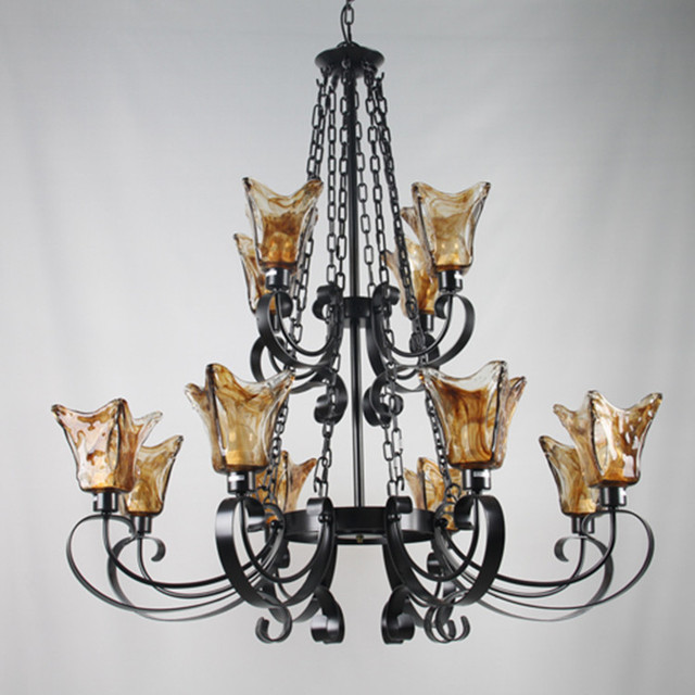 Antique Brown glass chandeliers led lustres Living room large black iron chandelier with glass cover vintage home coffee Light