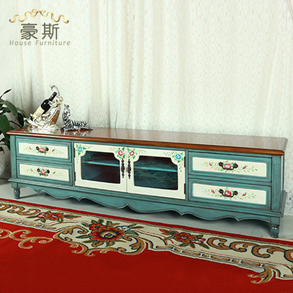 Hand Painted American Rural Countryside Of Solid Wood TV Cabinet Two Meters Short  Cabinet Storage Cabinets Living Room Cabinet R In Children Cabinets From ...