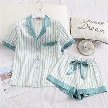 Verão nova seda de gelo confortável lapela manga curta mulher pijamas listrado seção fina respirável sleepwear