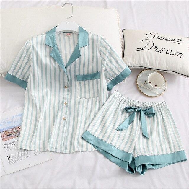 Yaz yeni buz ipek rahat yaka kısa kollu kadın pijama çizgili ince kesit nefes pijama