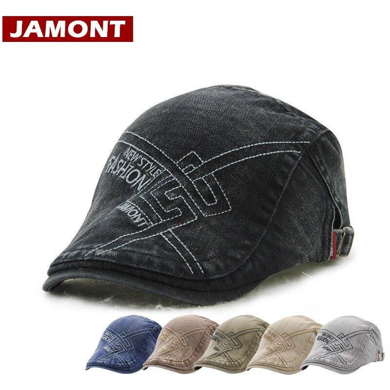 Beret JAMONT Newspaper-Cap French-Hat Retro Flat Cotton Casual Men for Visor Boina Hombre