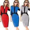 2015 мода дамы формальные профессиональных Bodycon красно-сине-черный работа платье до колен стрейч знаменитости карандаш платье Большой размер