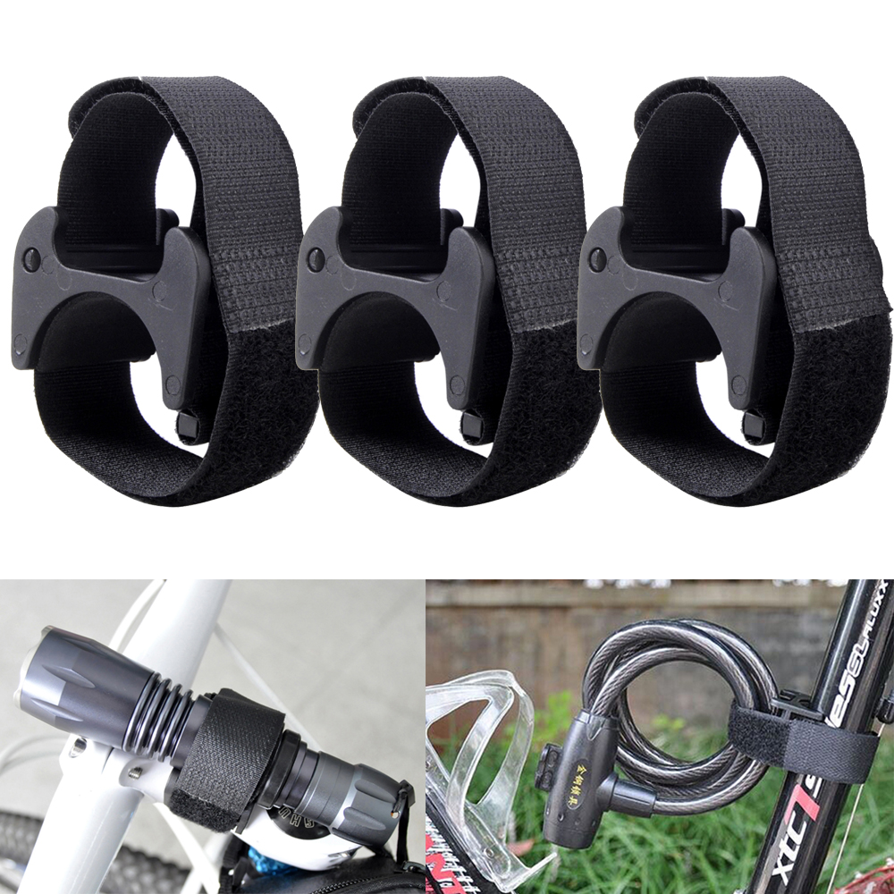 3Pcs Bicycle Flashlight Clip LED Torch Light Holder Mount Base With Adhesive Strap Black Rubber Anti-Skip Function Clip