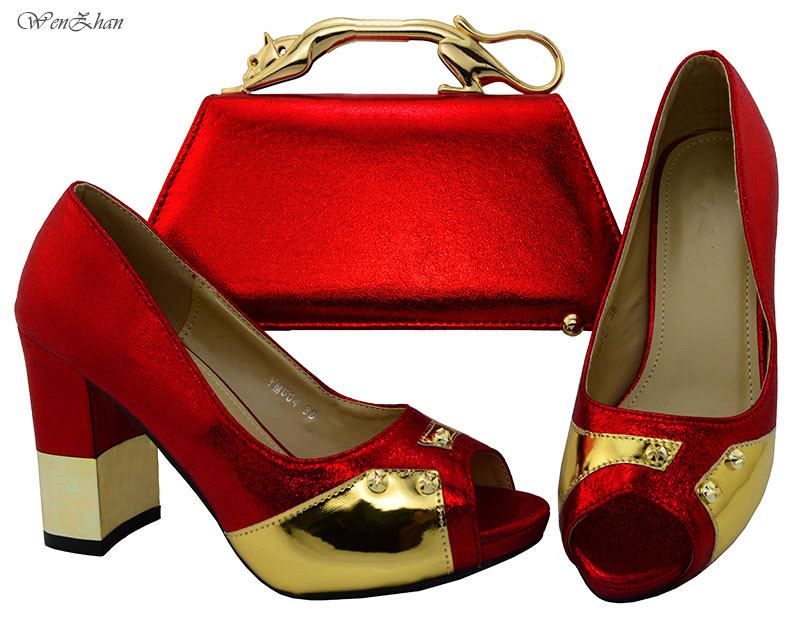 WENZHAN Gold Italian High Heel Shoes and Bags To Match,Luxuious Shoes with Bag Set Comfortable Thick Heel For Party EventA711-28