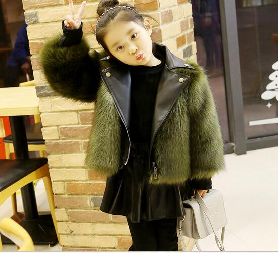 Hot Children's Clothing Outerwear Coats 2018 New PU Baby Jackets Motorcycle Leather Imitation Fox Fur Winter Coat fashion girls fur coats 2017 new baby girls pu leather faux fox fur motorcycle jackets winter warm kids outerwear coats