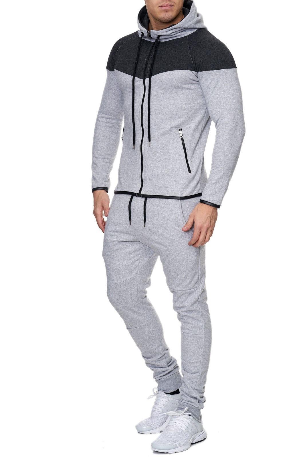 Zogaa Mens Track Suit Casual 2 Piece Set Fashion Color Block Hooded Sportswear Sweatsuit For Male Survetement Men Sportsuit