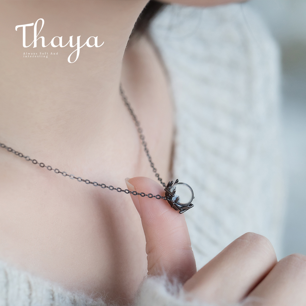 Thaya Pure Crystal S925 Silver Necklace Black Chain Nest Kind Pure Gemstone Pendant Necklace For Ladies Valentine Reward