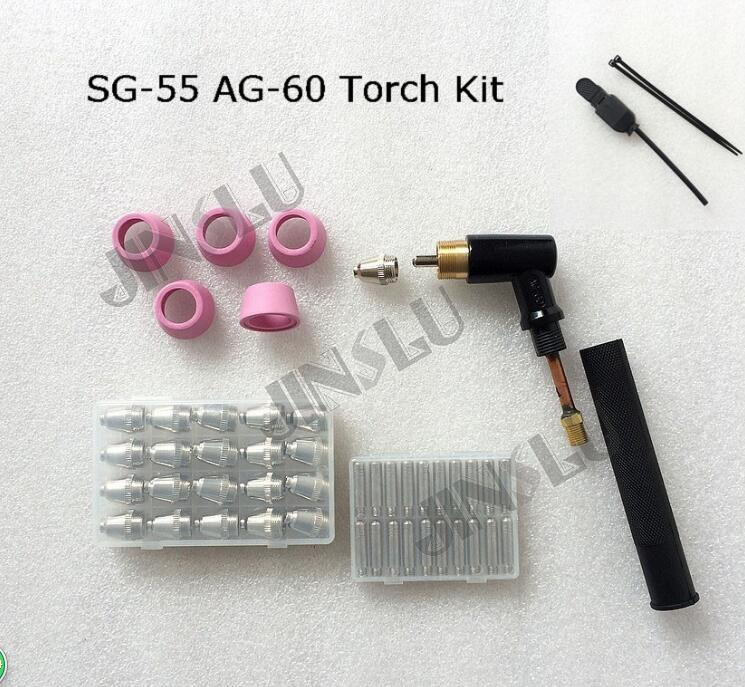 AG-60 SG-55 Torch Head Body Shield Electrode Nozzle Switch Consumables Kit 47pcs SG55 AG60 CUT-60 LGK-60 Cutting Cutter Machine sg55 ag60 100pcs consumables kit tips for plasma cutter welder torch 100pk