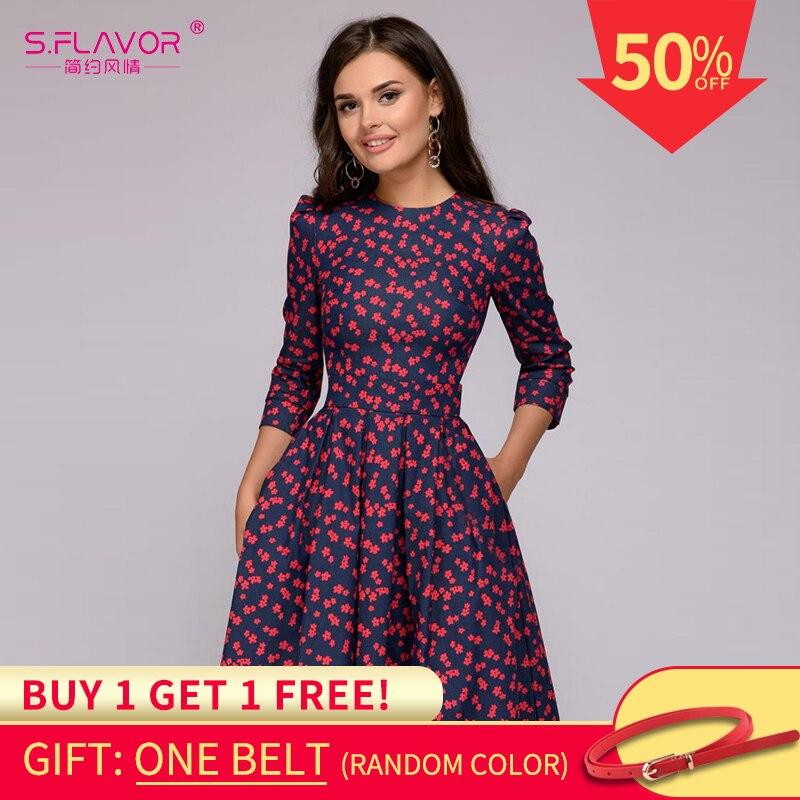 S.flavor Women Elegent A-line Dress 2019 Vintage Printing Party Vestidos Three Quarter Sleeve Women Spring Dress(no Pockets)