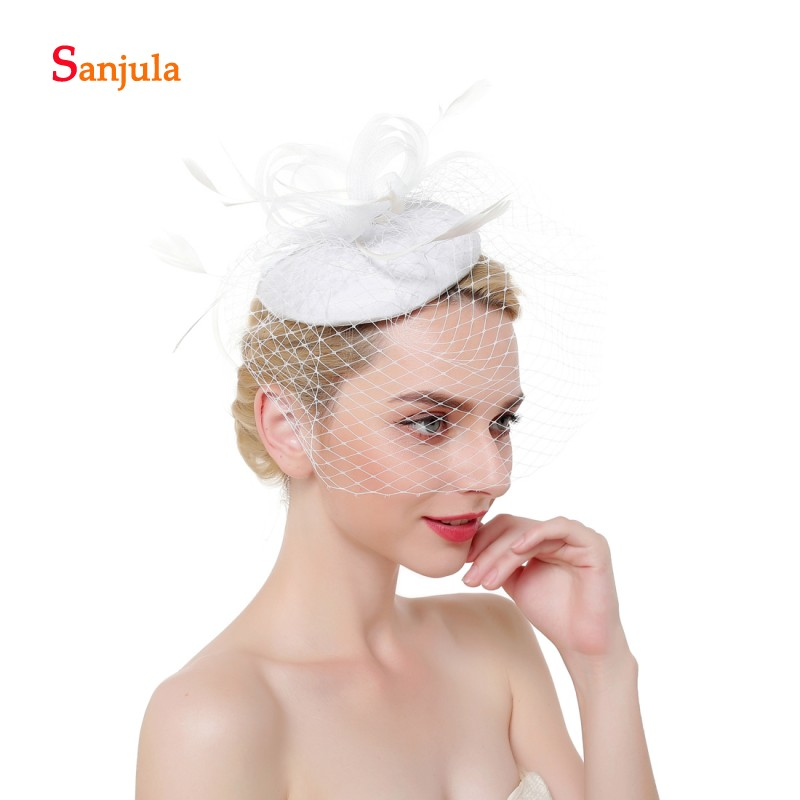 a75f24c484b7a White Ivory Wedding Hats for Bridal Feathers Fascinators Hats with Face Veil  Elegant Black Party
