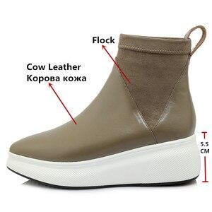 Image 3 - FEDONAS yeni Retro kadınlar hakiki deri yarım çizmeler platformları konfor rahat çorap çizmeler kadın 2021 ayakkabı kadın ofis pompaları