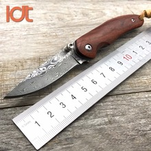 LDT Original Folding Knife Damascus Blade Rosewood Steel Handle Outdoor Pocket Camping Knives Hunting Survival Knife EDC Tools