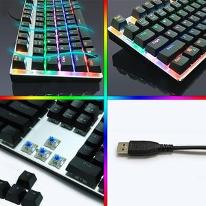 Image 4 - Mechaniczna klawiatura gamingowa 87/104 klawisze rosyjski/angielski USB przewodowa podświetlana LED gra klawiatury niebieski/czerwony przełącznik dla graczy komputerowych